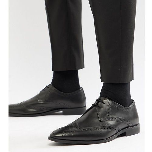 wide fit wing tip brogue shoes in black leather - black, Frank wright
