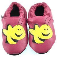 Skórzane kapcie dziecięce Afelo Happy Bee - Różowy, kolor różowy