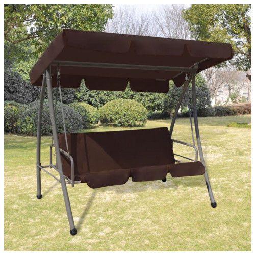 Huśtawka ogrodowa z baldachimem Swing kolor brązowy, vidaxl_43238