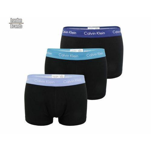3-pack bokserki Calvin Klein czarne z niebieską gumką, kolor niebieski