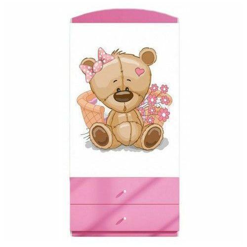 Szafa dla dziewczynki Happy 3X mix - biało - różowa, Kocot-szafa-babydreams-różowa-wzór