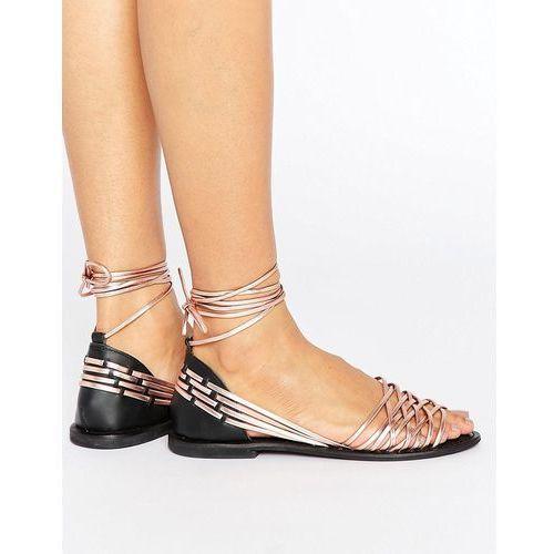 ASOS JOSHUA Leather Tie Leg Flat Sandals - Gold