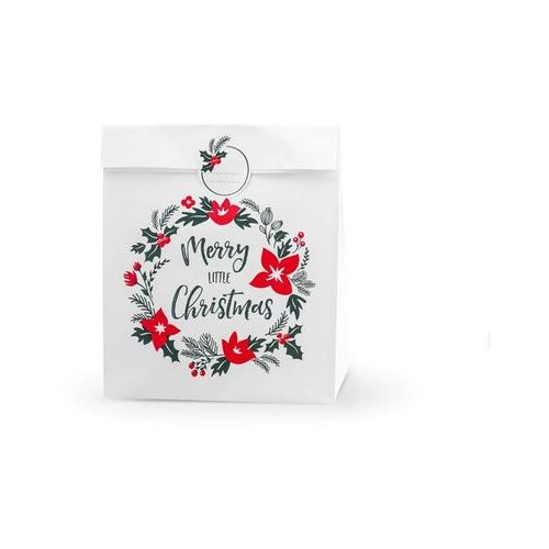 Party deco Torebka prezentowa merry little christmas, biała - 3 szt.