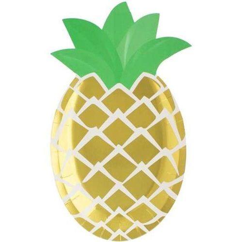 """Godan Talerzyki papierowe """"ananas - zielone listki"""", , 25 cm, 6 szt"""