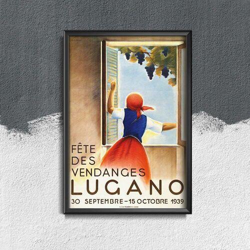 Plakat vintage do salonu plakat vintage do salonu wine harvest lugano swiss marki Vintageposteria.pl