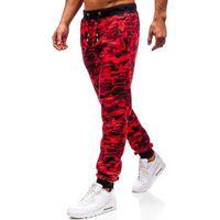 Spodnie męskie dresowe joggery czerwone Denley KZ13, kolor czerwony
