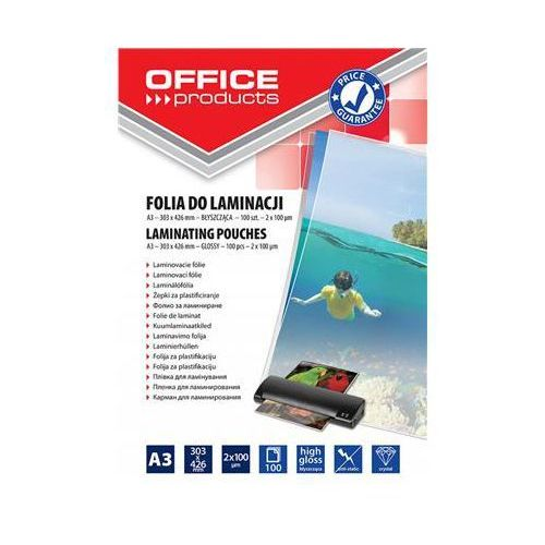 Folia do laminowania OFFICE PRODUCTS, A3, 2x100mikr., błyszcząca, 100szt., transparentna, 20325625-90