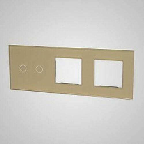 TouchMe Duży panel szklany, 1 x łącznik podwójny, 2 x ramka, złoty TM702728728G, kolor złoty