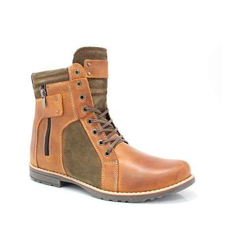 237 karmel+welur - męskie buty zimowe - pomarańczowy ||brązowy marki Kent