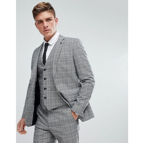 prince of wales blue check slim fit suit jacket - grey, French connection