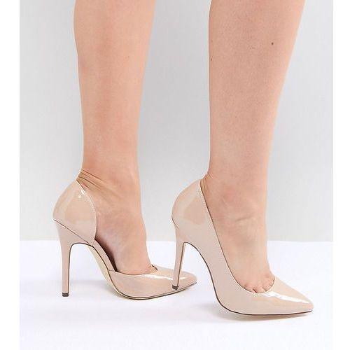 wide fit pointed high heels - beige, London rebel