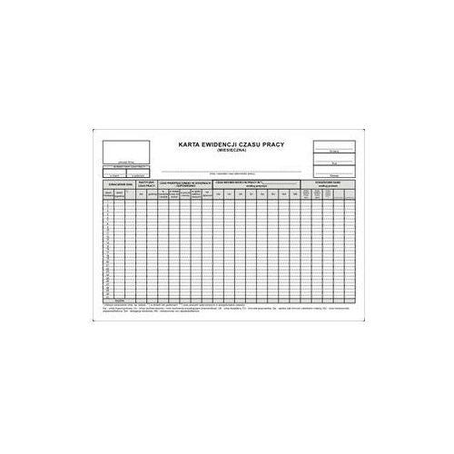 Karta ewidencji czasu pracy MIESIĘCZNA / A4 [Pu/Zo-95]