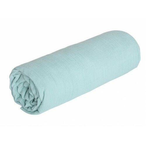 Prześcieradło z gumką LEGERO z muślinu bawełnianego – 140 × 190 cm – kolor niebieski