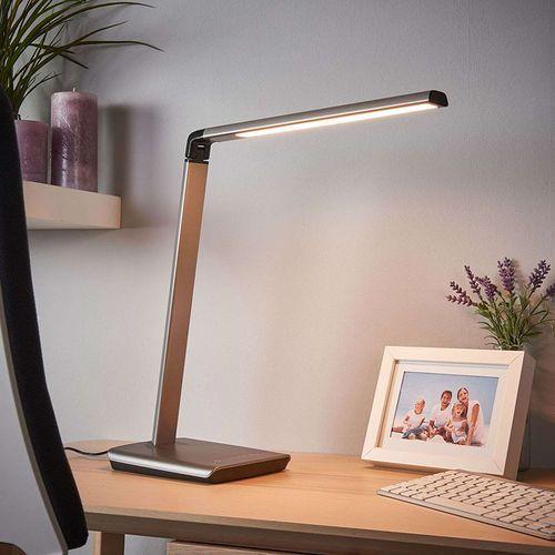 Lindby Lampa biurkowa antracytowa z portem usb z led i ściemniaczem - kuno