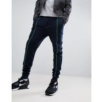 ASOS DESIGN Skinny Joggers In Navy With Light Green Piping - Navy