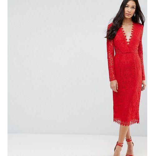 long sleeve lace midi pencil dress - red, Asos tall