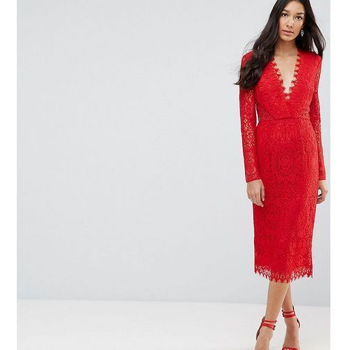long sleeve lace midi pencil dress - red marki Asos tall