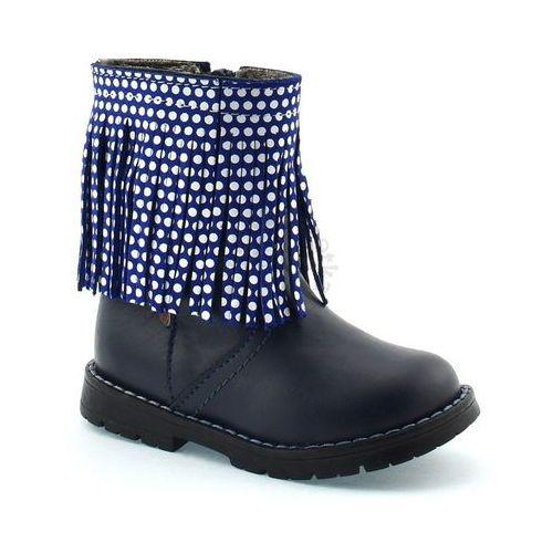 Zarro Skórzane buty zimowe dla dzieci 86/04 - granatowy