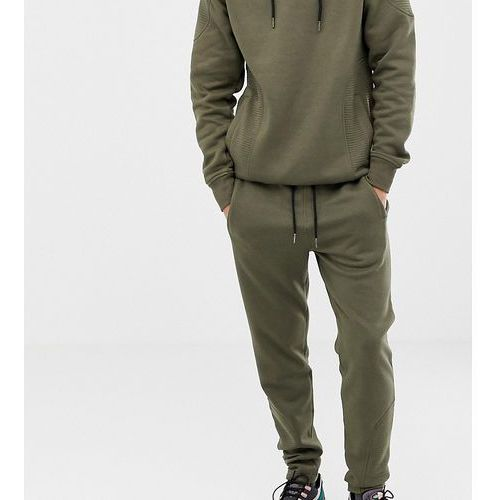 tall quilted panel slim fit joggers - green, Another influence