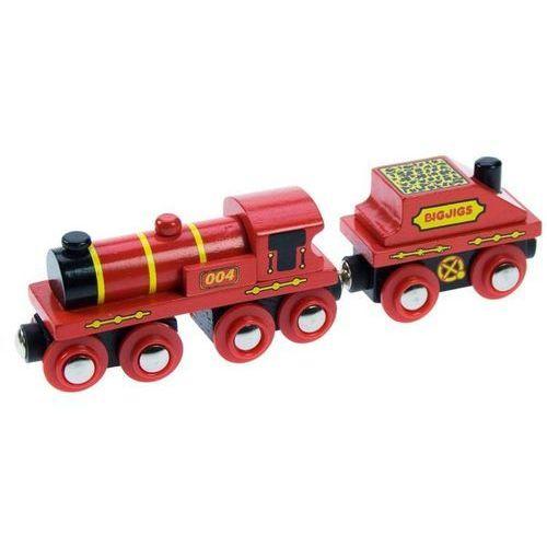 Duża czerwona lokomotywa do zabawy, wyposażenie kolejek drewnianych bigjigs marki Bigjigs toys