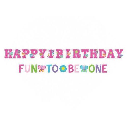 Baner urodzinowy na roczek Happy Birthday One Wild Girl - 1,8 m x 10 cm