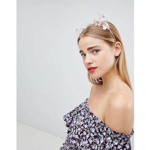 New look sequin flower cat ears - pink