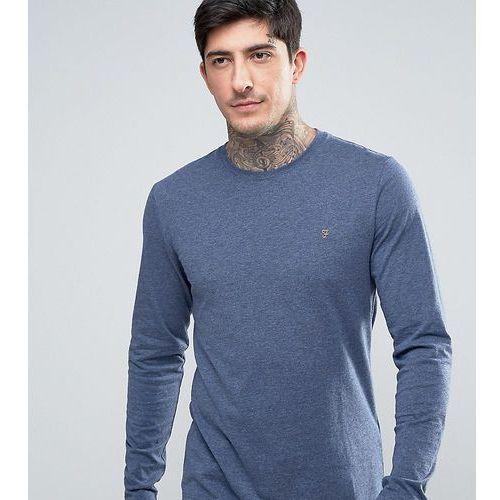 Farah gloor slim fit long sleeve logo marl t-shirt in navy - navy