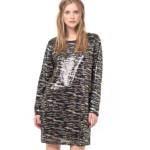 """Sukienka ze """"zwierzęcym"""" nadrukiem i blyszczace cyrkonie, wycięcie na plecach marki Vila"""