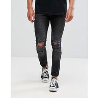 jeans in skinny fit with stretch and distressing - black, Religion