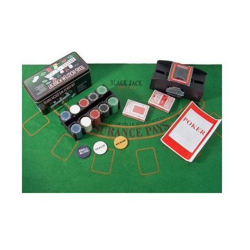 Zestaw do Pokera Texas + Tasowarka + 200 Żetonów + Kości i Akcesoria!!