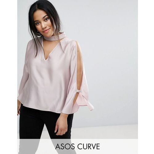Asos curve  longline cold shoulder satin swing top with deep plunge - pink