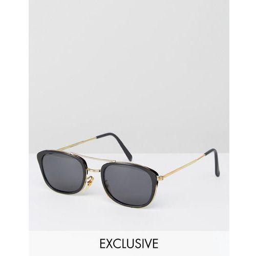 inspired square aviator sunglasses in black exclusive to asos - black marki Reclaimed vintage