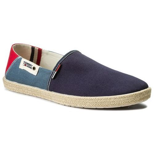 Espadryle tommy hilfiger - jeans summer slip on shoe em0em00027 ink/jeans/tango red 902 marki Tommy jeans