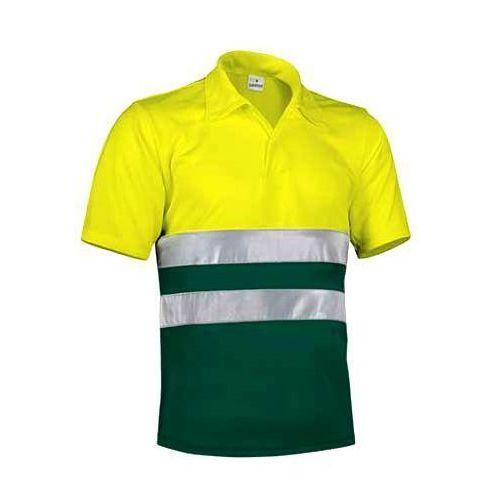 Koszulka POLO odblaskowa ostrzegawcza robocza z normą EN471 S zolty-fluo-burgund