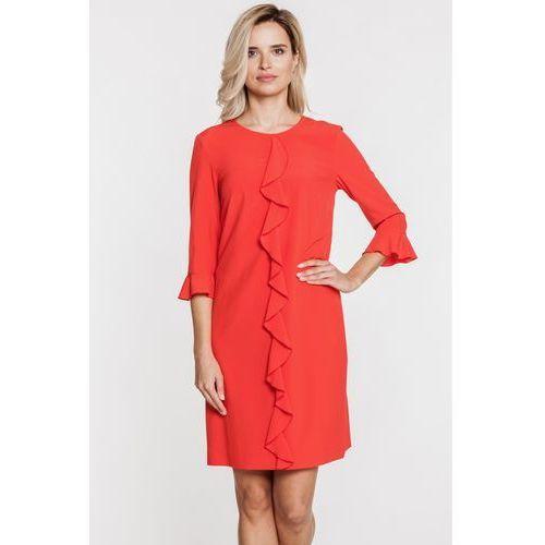 Czerwona sukienka z falbanami - Bialcon, 1 rozmiar