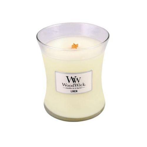 - świeca średnia linen 100h marki Woodwick