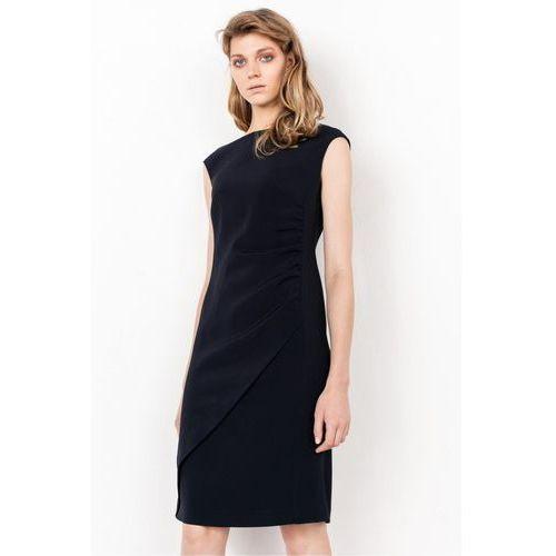 Granatowa sukienka z marszczeniem na boku - Patrizia Aryton, 1 rozmiar