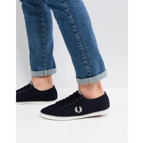 kingston twill plimsolls in black - black, Fred perry