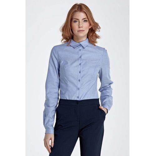 Niebieska Koszula z Efektownym Kołnierzykiem, NK51be