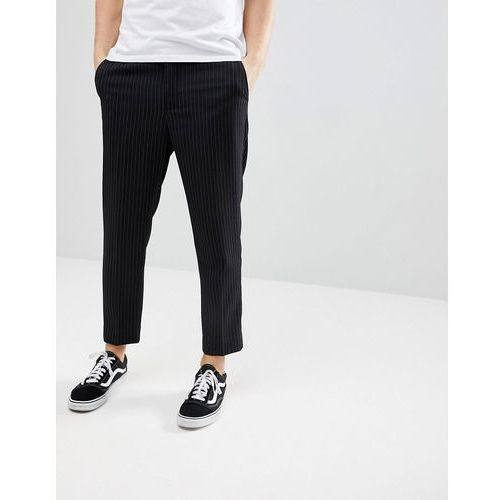 cropped trousers in black pinstripe - black, Bershka