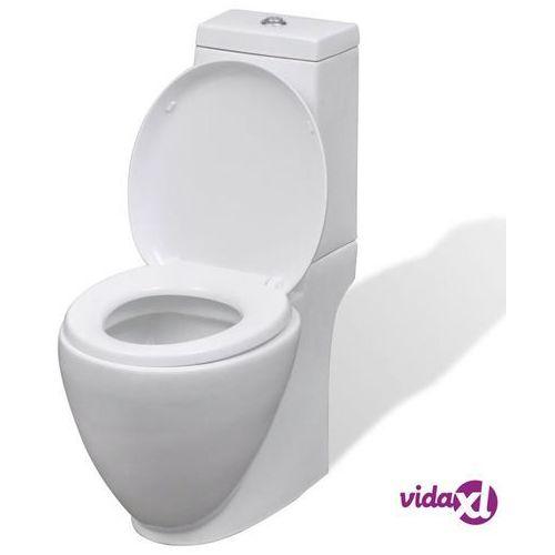 vidaXL Ceramiczna toaleta ze spłuczką, okrągła, biała (8718475882008)