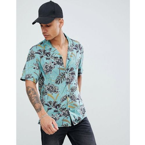 Pull&Bear floral shirt with revere collar in green - Green, kolor zielony