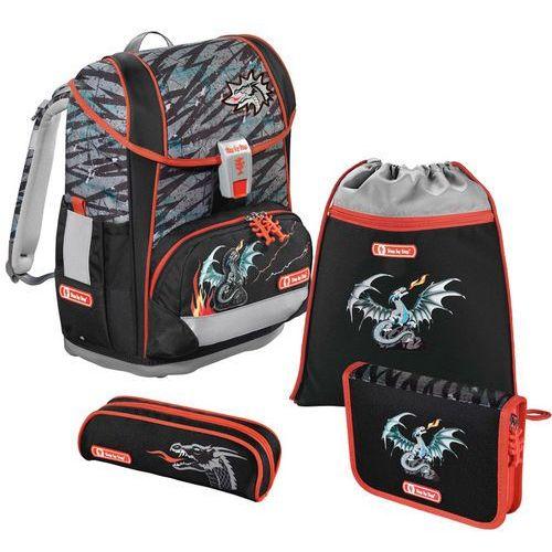 Step by Step Light 2 tornister szkolny zestaw 4-częściowy / Fire Dragon - Fire Dragon, kolor czarny