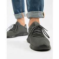 New look knitted detail trainers in mid grey - grey