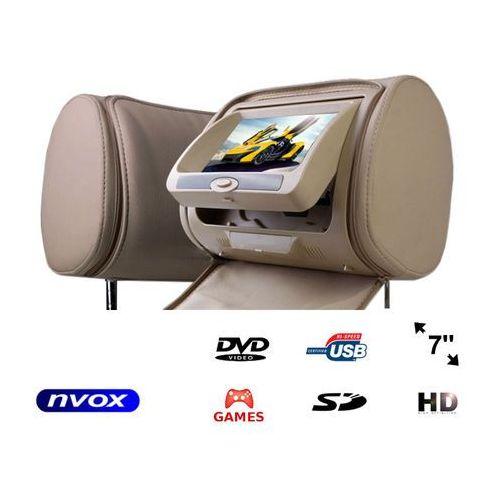 """Zagłówek multimedialny z ekranem 7"""" w rozdzielczości HD z DVD GRAMI USB SD oraz maskownicą (5909182422189)"""