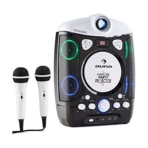 auna KaraProjectura zestaw karaoke z projektorem gra świateł LED USB czarno-szary