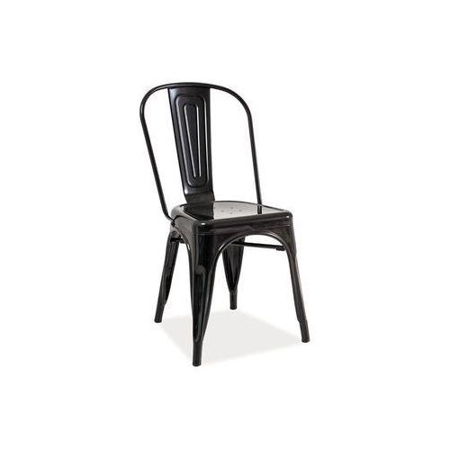 Krzesło metalowe SIGNAL LOFT czarny przecierany