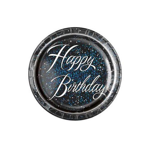 Talerzyki błyszczące happy birthday niebieskie - 23 cm - 8 szt. marki Unique