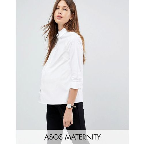 Asos design maternity 3/4 sleeve shirt in stretch cotton - white marki Asos maternity