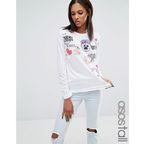 Asos tall  t-shirt with mix and match badge print and long sleeves - white